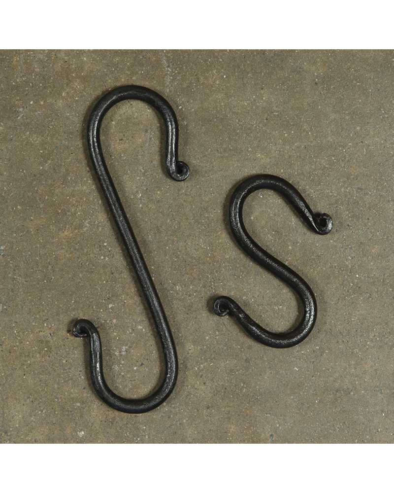 HomArt Forged Iron Link S Hook - 6 in - Antique Black - Set of 2