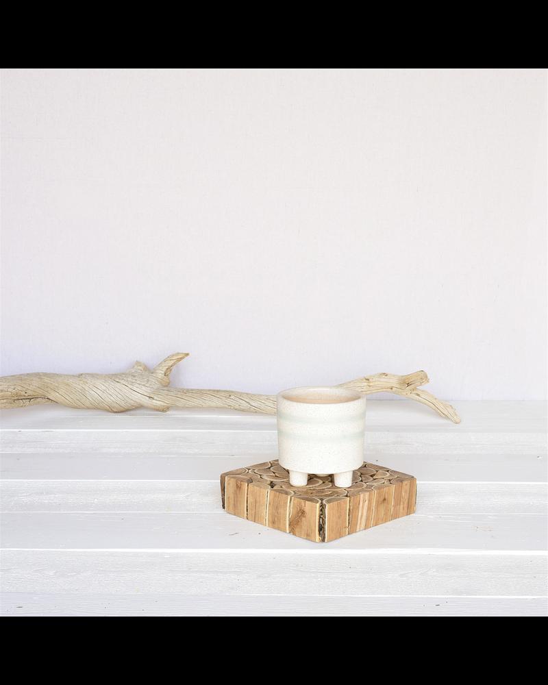 HomArt Fluorite Cachepot, Ceramic - Sm - White, Teal