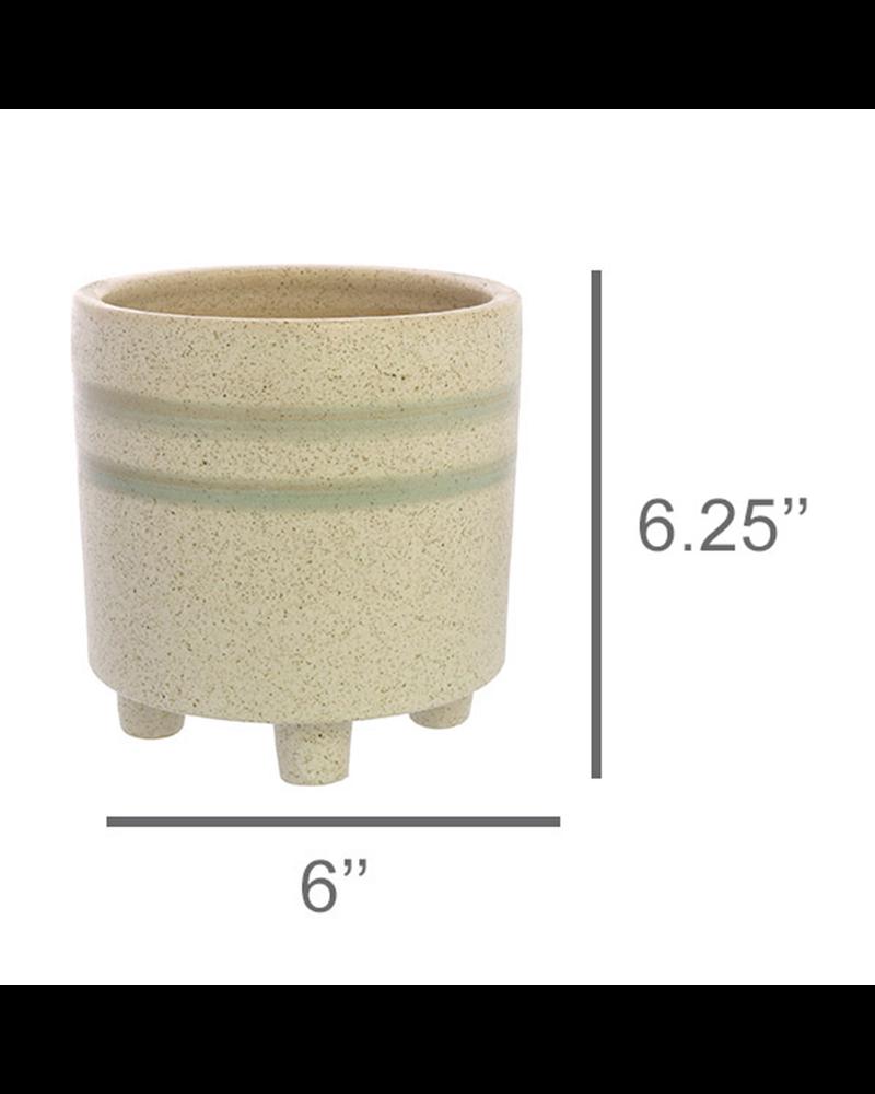 HomArt Fluorite Cachepot, Ceramic - Lrg - White, Teal