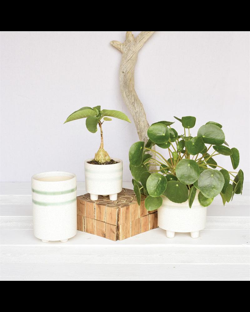 HomArt Fluorite Vase, Ceramic - White, Teal