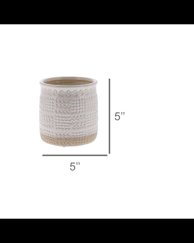 HomArt Cheyenne Cachepot, Ceramic - Sm - White