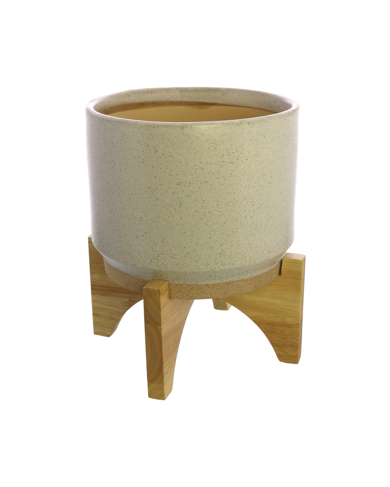 HomArt Ames Cachepot, Ceramic with Wood - Lrg - White, Natural