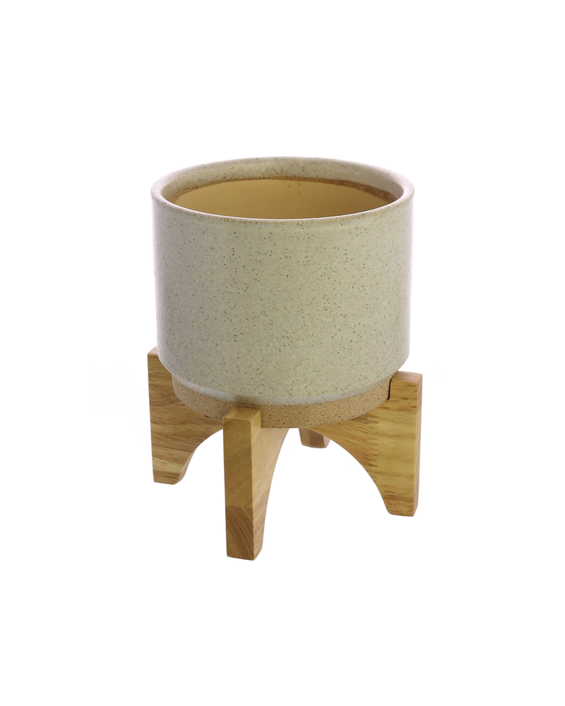 HomArt Ames Cachepot, Ceramic with Wood - Sm - White, Natural