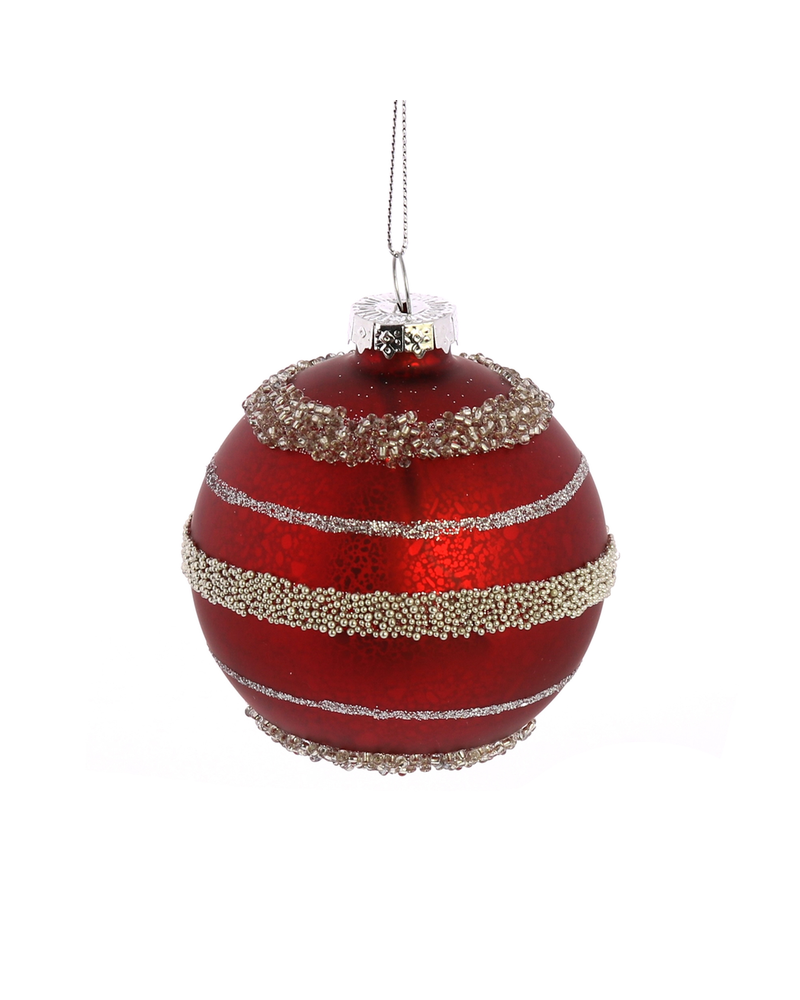 HomArt Kira Ornaments, Glass - Set of 5, Assorted - Pink, Red, Silver, Teal, Gold