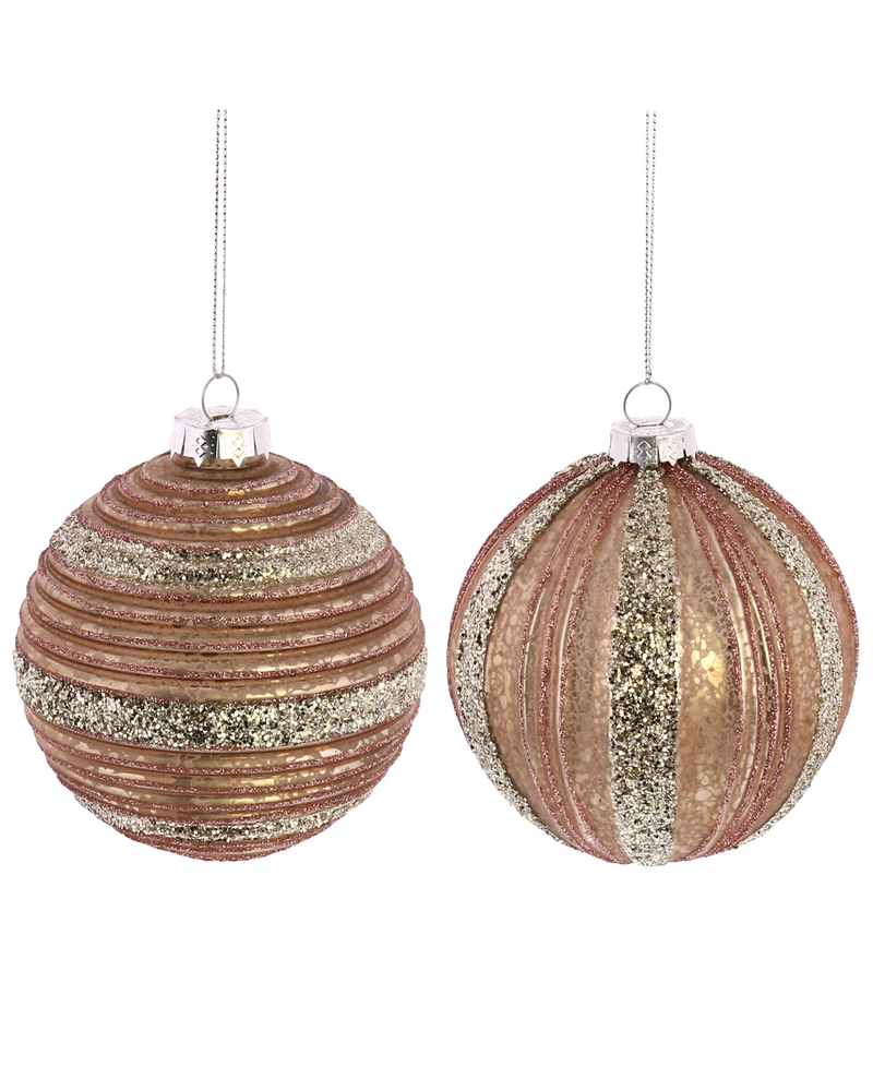 HomArt Sugarplum Ornaments - Pink Set of 2, Assorted - Pink