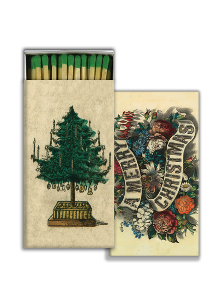 HomArt Matches - Holiday Tree & A Merry Christmas - Green - Set of 3