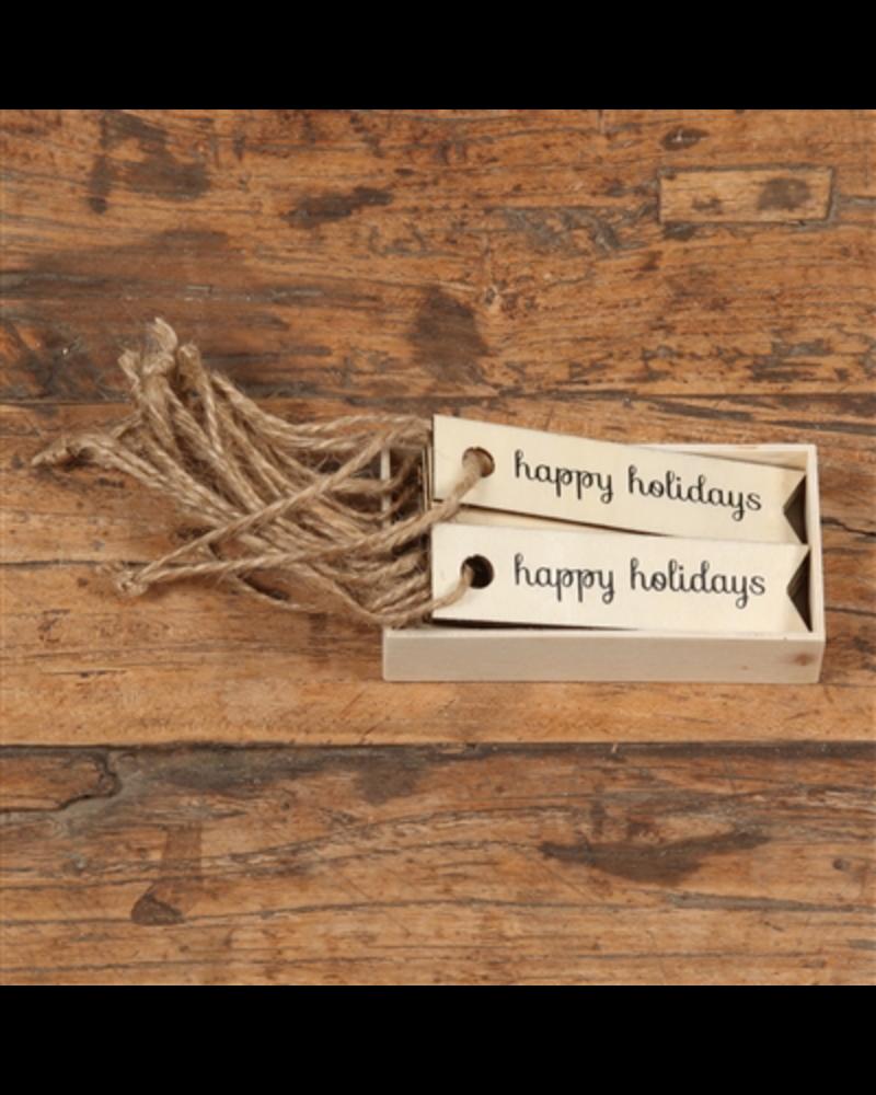 HomArt Happy Holidays Gift Wood Hangtag - Box of 12 - Set of 3 Boxes
