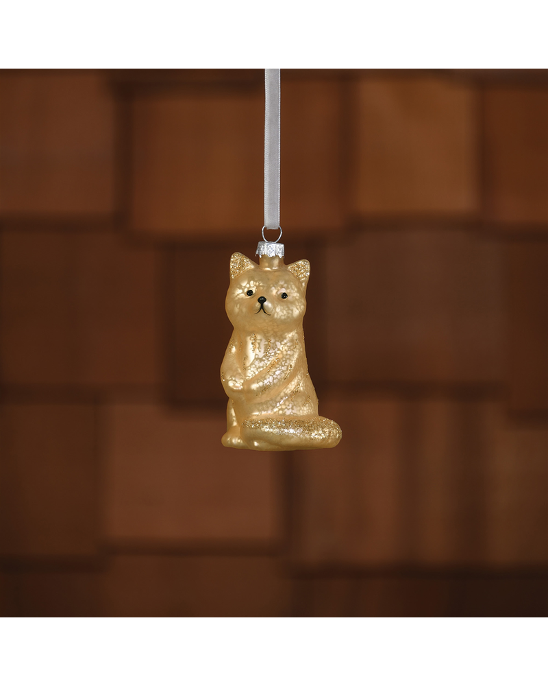 HomArt Fox Ornament, Glass - Gold - Set of 2