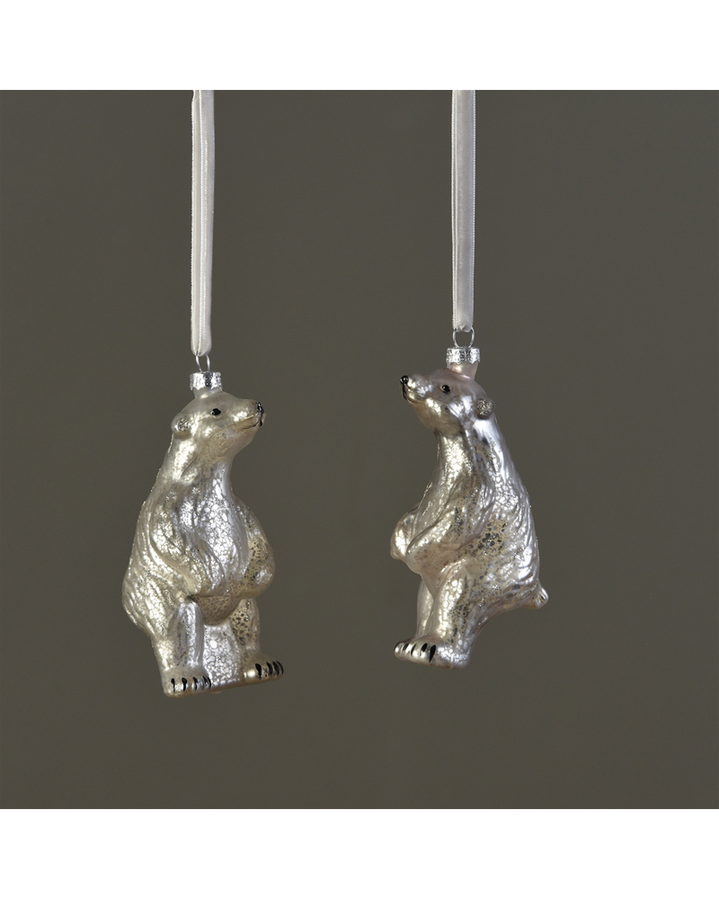 HomArt Polar Bear Ornament, Glass - Silver - Set of 2