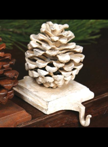 HomArt Stocking Holder Pinecone - Cast Iron White