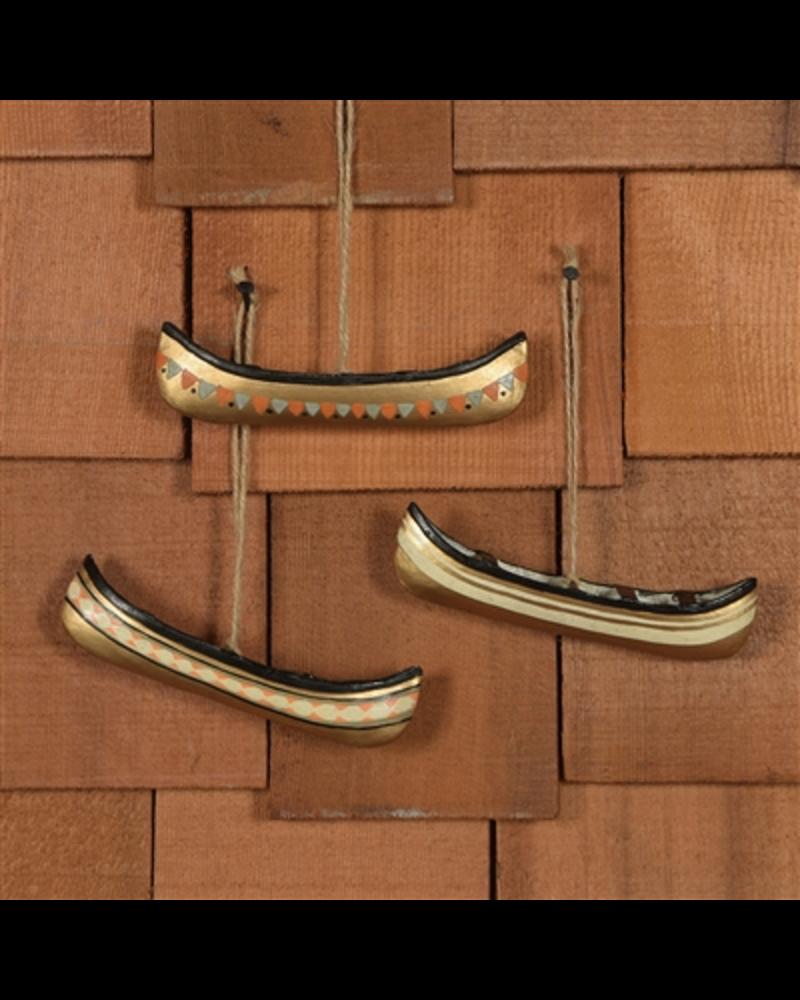 HomArt Painted Metal Canoes - Set of 3
