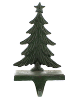 HomArt Antique Green Christmas Tree Cast Iron Stocking Holder
