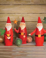 HomArt Painted Metal Santa Trio - Set of 3