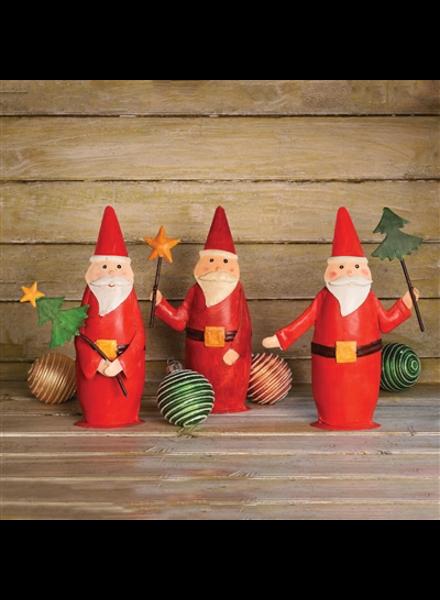 HomArt Painted Metal Santa Trio - Set of 3