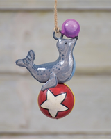 HomArt Painted Metal Circus Seal Ornament