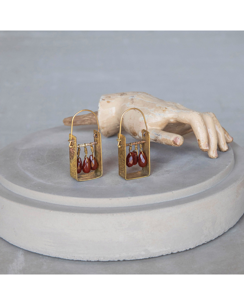 OraTen Boxed Gem Brass Earrings - Carnelian