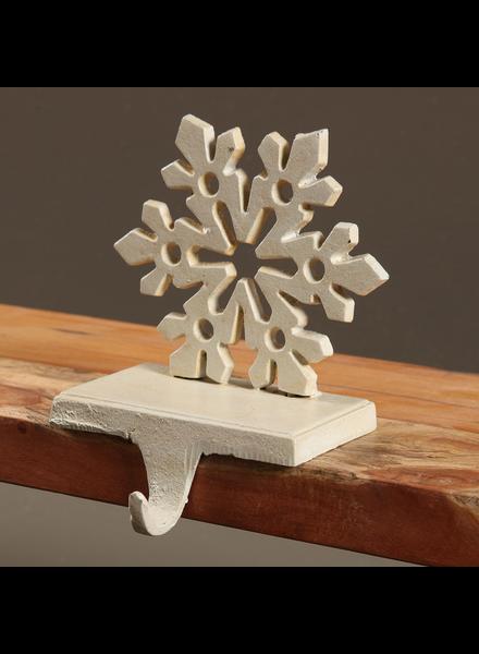 HomArt Snowflake Stocking Holder - Cast Iron - Antique White