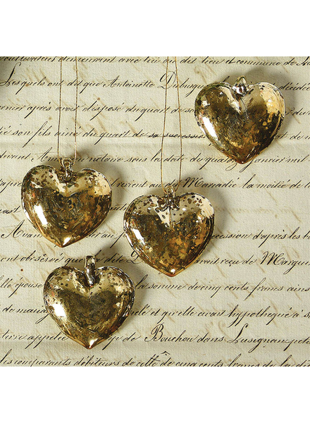 HomArt Venetian Glass Hanging Hearts - Box of 6 - Gold