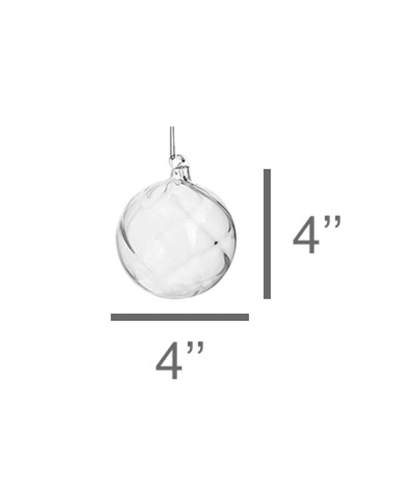 HomArt Blown Glass Swirl Sphere Ornament - Set of 2