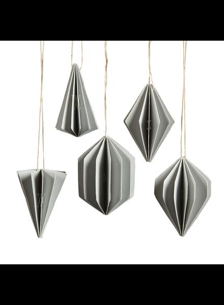 HomArt Geometric Paper Ornament Asst. 5 Grey