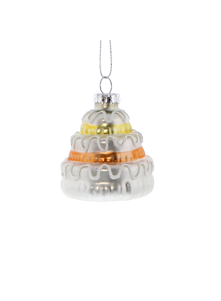 HomArt Glass Wedding Cake Ornament - Set of 6