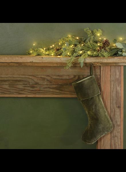 HomArt Velvet Stocking - Sage Green