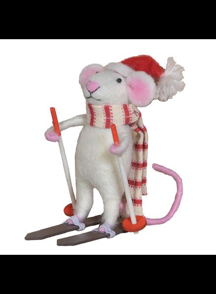 HomArt Felt Skier Mouse Ornament