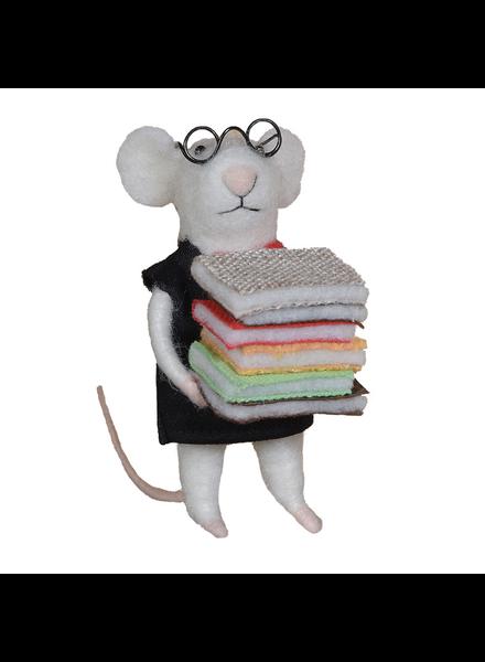 HomArt Felt Librarian Mouse Ornament