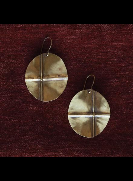OraTen Cross Brass Earrings