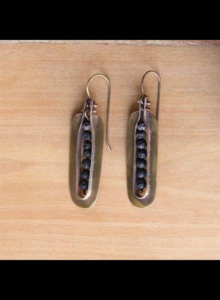 OraTen Kona Brass Earrings - Lava Stones