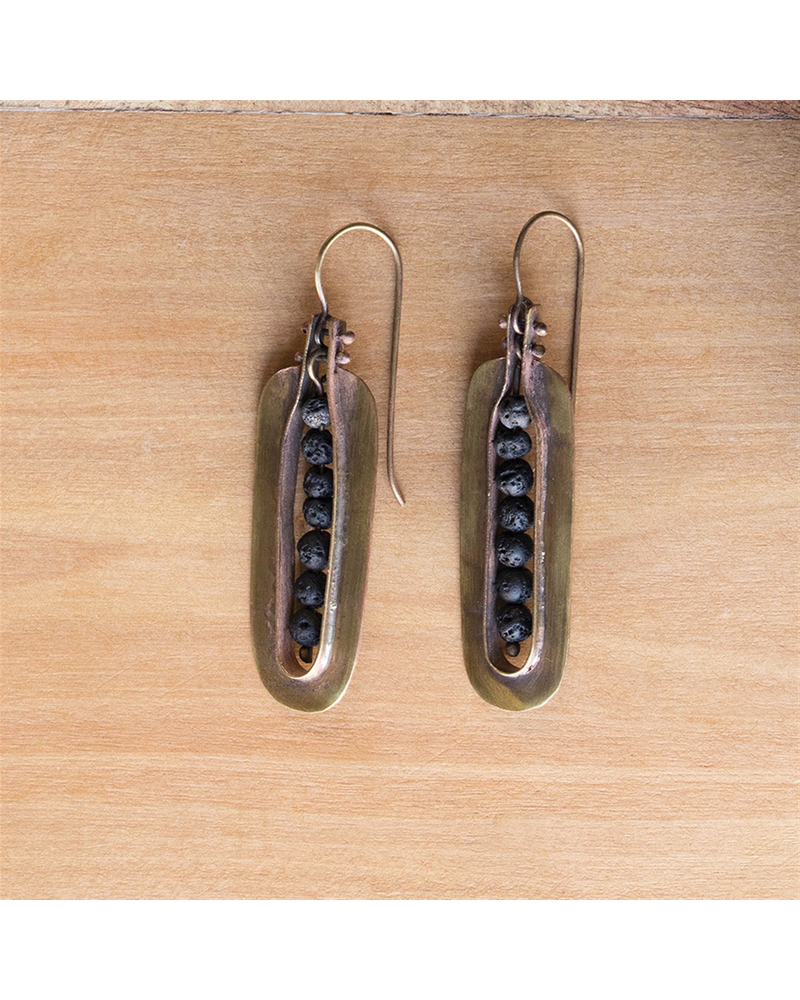 OraTen Kona Brass Earrings - Lava Stones