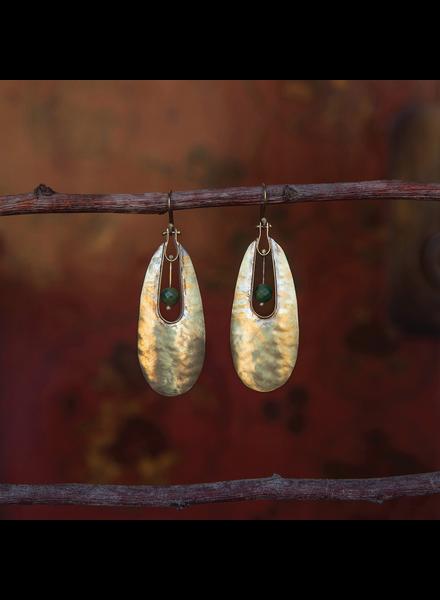 OraTen Tear Drop Brass Earrings - African Jade