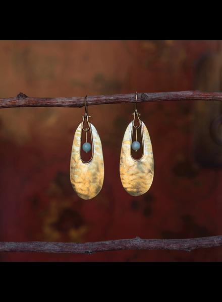 OraTen Tear Drop Brass Earrings - Amazonite