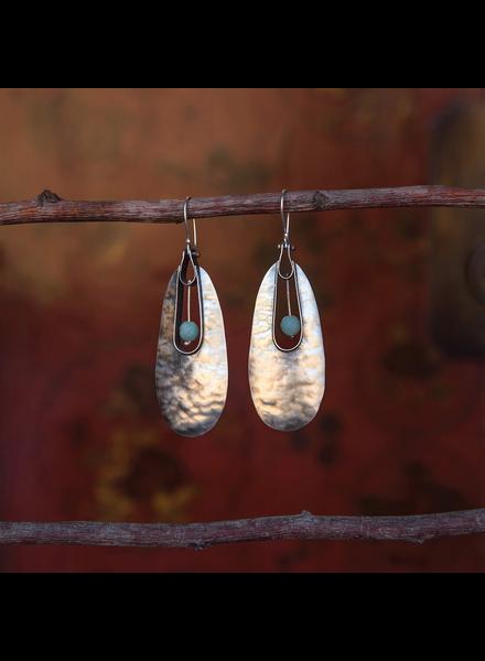 OraTen Tear Drop Silver Earrings - Amazonite