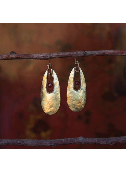 OraTen Tear Drop Brass Earrings - Carnelian