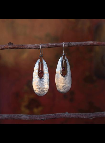 OraTen Tear Drop Silver Earrings - Carnelian
