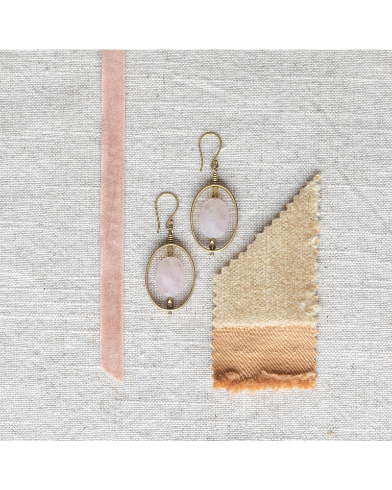 OraTen Dewdrop Oval Earrings - Rose Quartz
