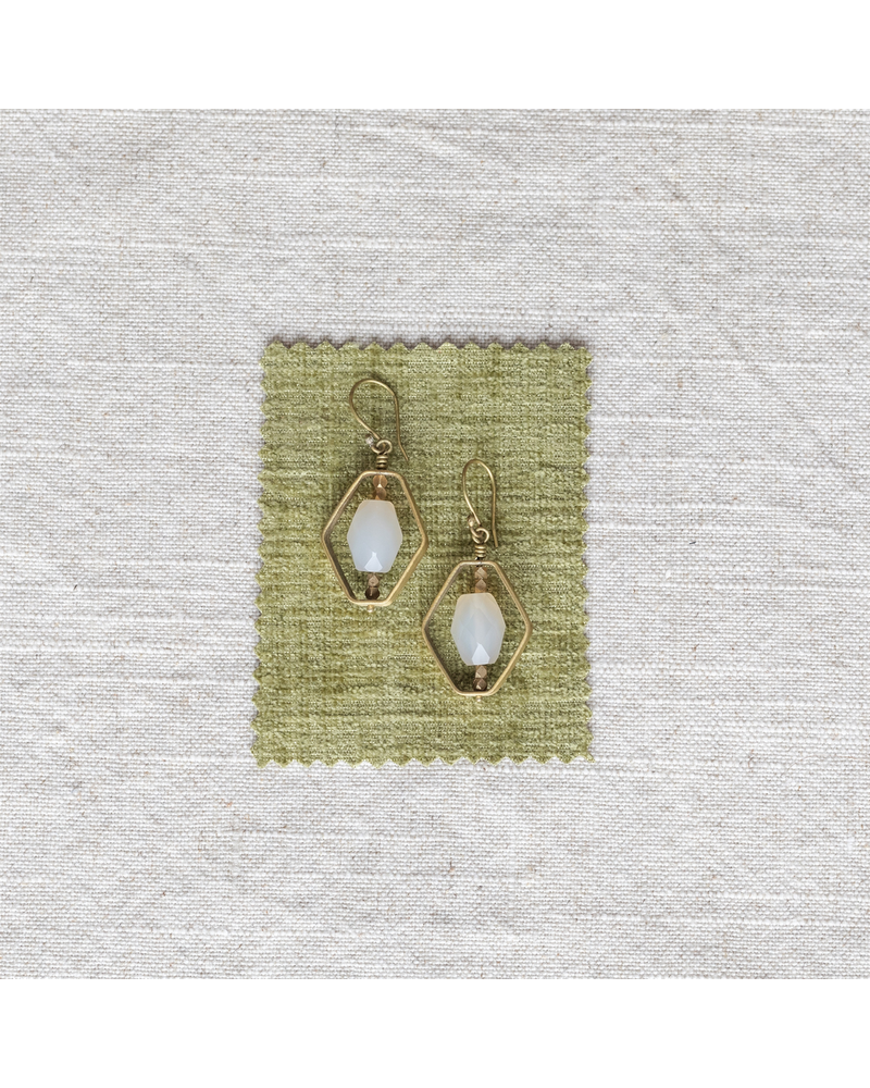 OraTen Dewdrop Hexagon Earrings - White Onyx