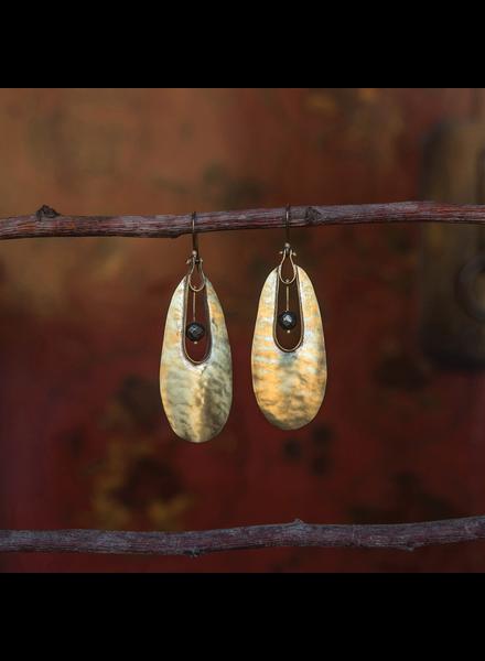 OraTen Tear Drop Brass Earrings - Pyrite