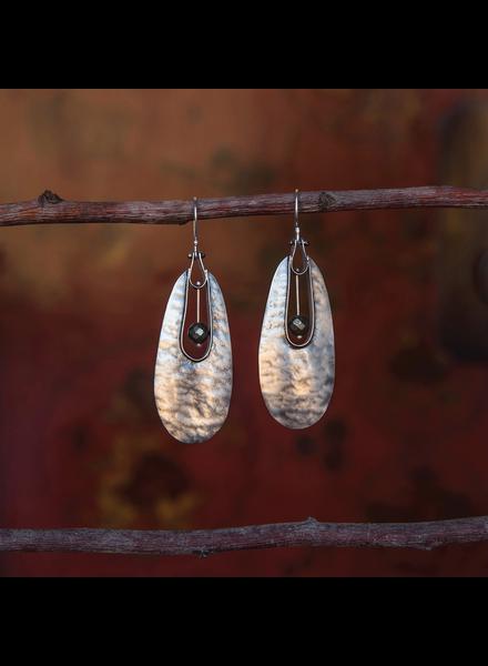 OraTen Tear Drop Silver Earrings - Pyrite