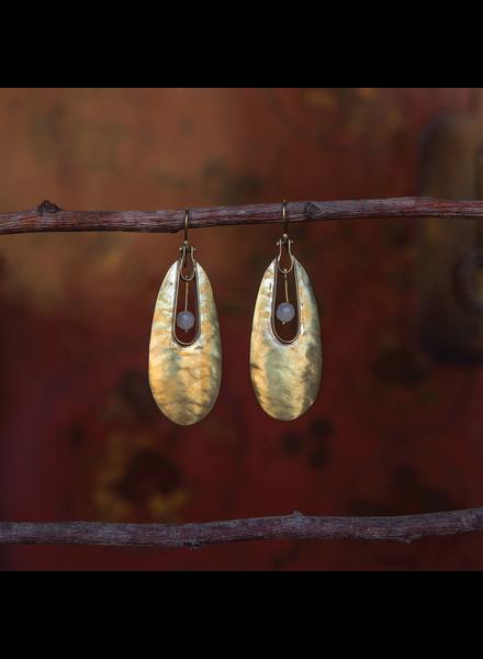 OraTen Tear Drop Brass Earrings - White Onyx