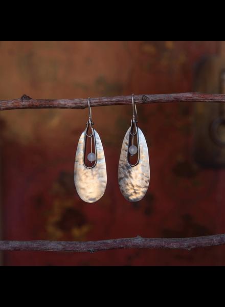 OraTen Tear Drop Silver Earrings - White Onyx