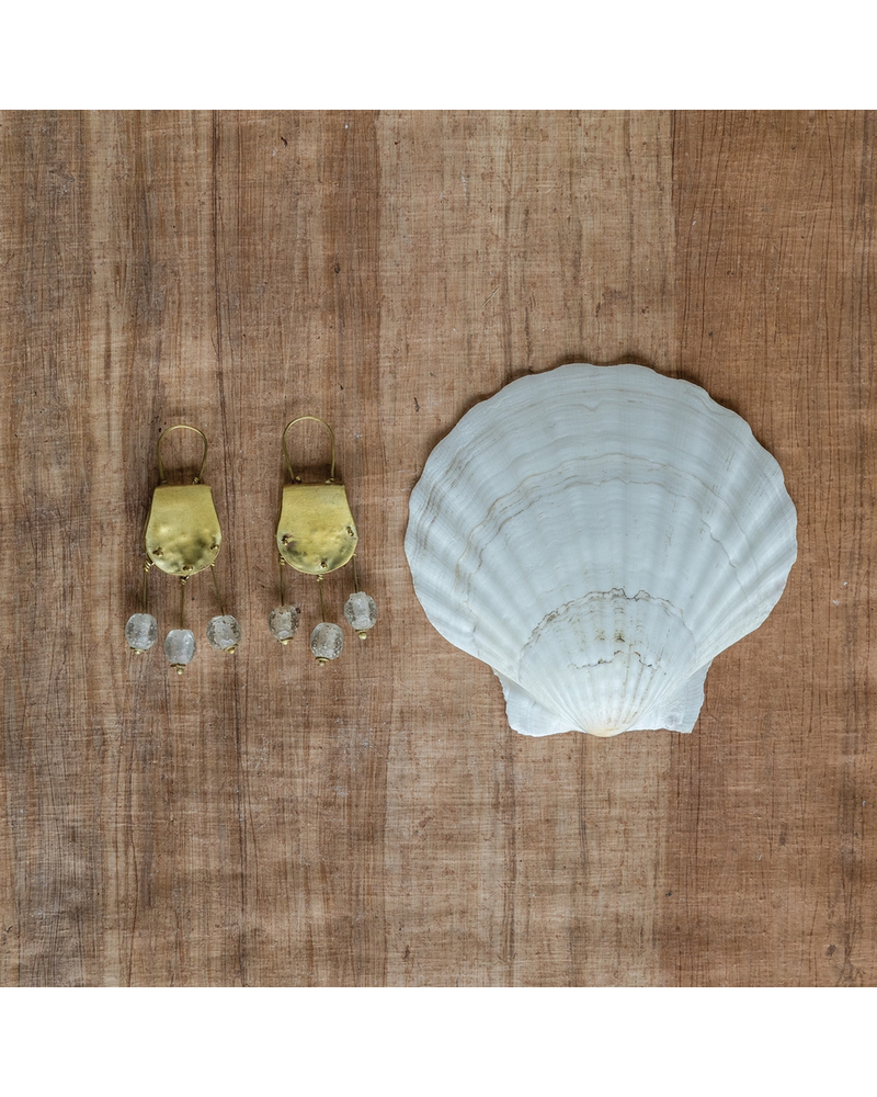 OraTen Earthen Glass Brass Earrings - Earthen Glass