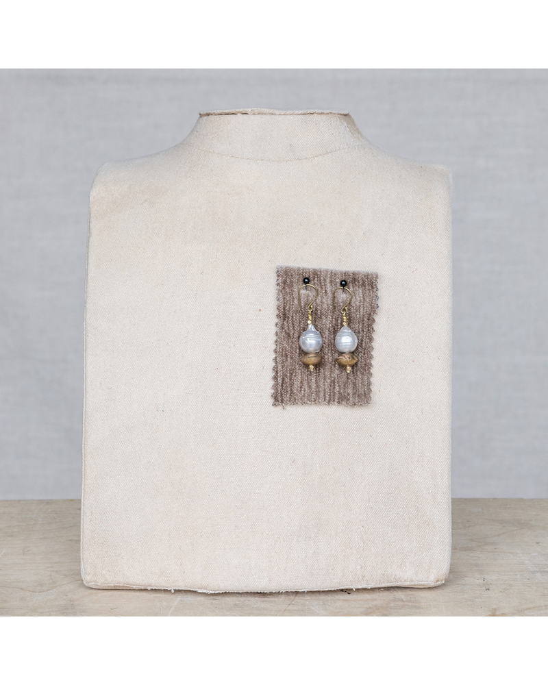 OraTen Cleo Pearl Brass Bicone Earrings - Grey Pearl