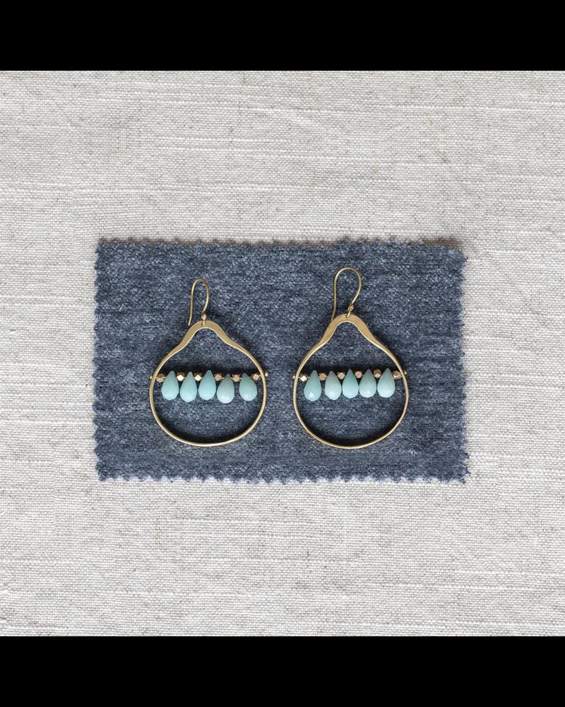 OraTen Esther Brass Drop Earrings - Amazonite