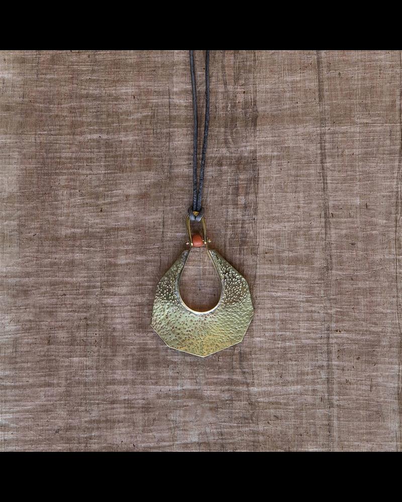 OraTen Octagon Drop Brass Pendant - Persimmon Bead