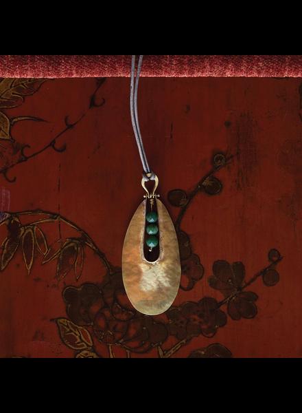 OraTen Tear Drop Brass Pendant - African Jade