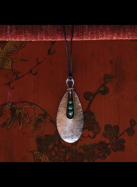 OraTen Tear Drop Silver Pendant - African Jade