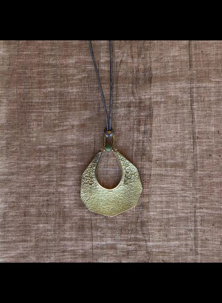 OraTen Octagon Drop Brass Pendant - Green Bead
