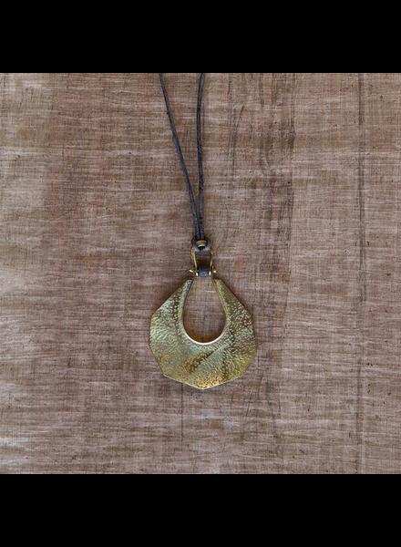 OraTen Octagon Drop Brass Pendant - Grey Bead
